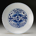A blue and white 'phoenix' dish, guangxu mark and period (1875-1908)