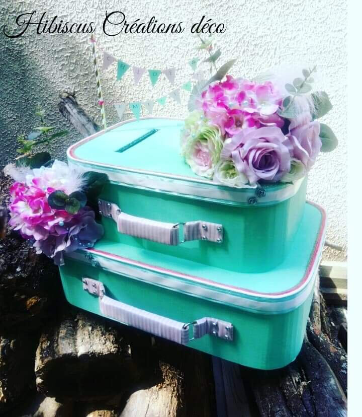 Urne valise mariage thème champêtre