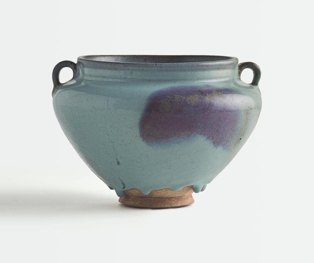 A large 'Jun' purple-splashed handled-jar, Yuan dynasty (1279-1368)
