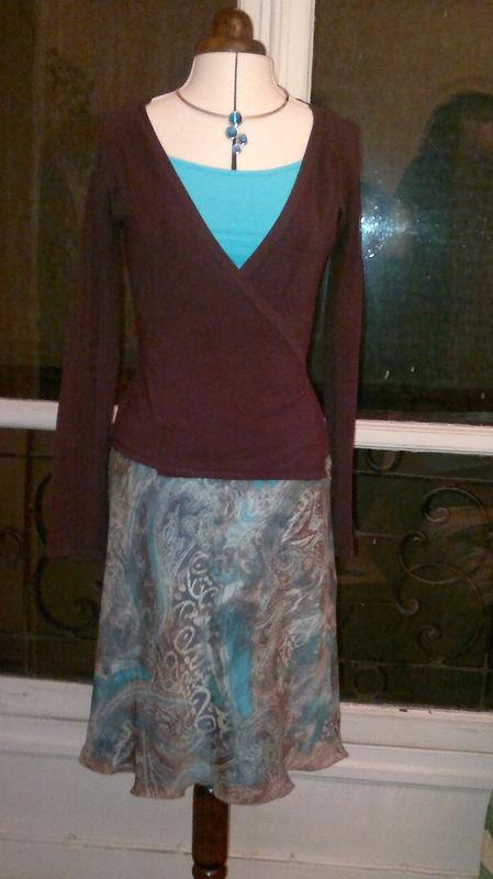 jupe mousseline marron-bleu