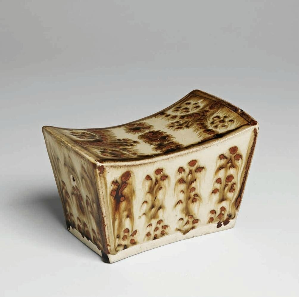 """Qingbai"" Pillow with Russet Floral Pattern, Song Dynasty, 960-1279 A"