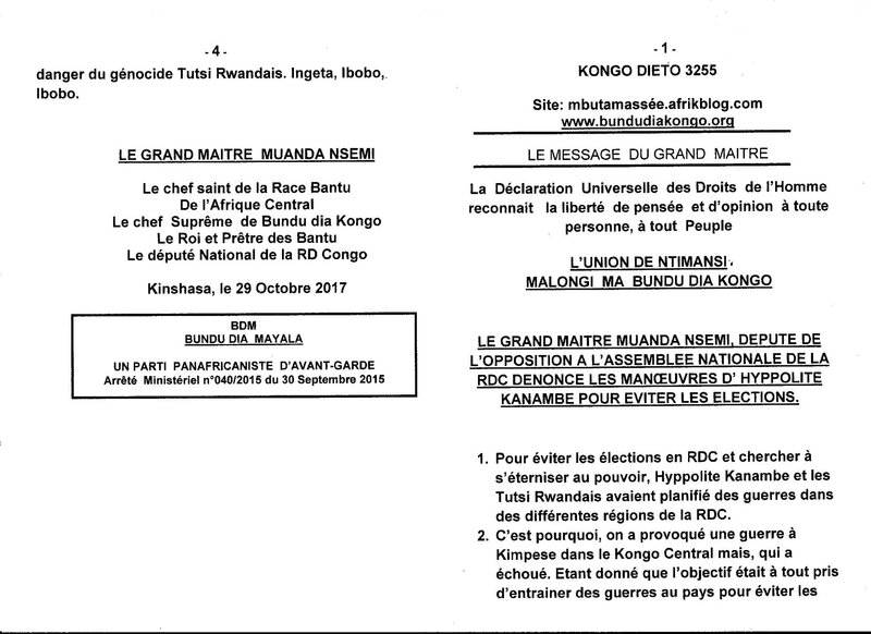 LE GRAND MAITRE MUANDA NSEMI DENONCE LES MANOEUVRES D'HYPPOLITE KANAMBE POUR EVITER LES ELECTIONS a