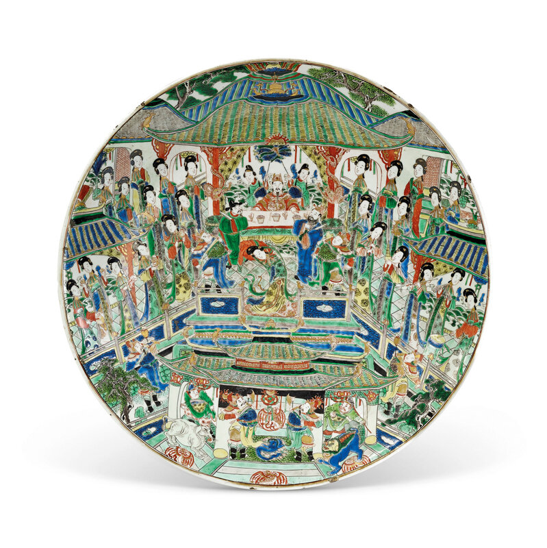 A large Famille verte dish, Qing dynasty, Kangxi period (1662-1722)