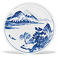 A blue and white 'landscape' dish, qing dynasty, kangxi period (1662-1722)