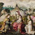 Attributed to pieter claessens the younger (antwerp 1571-1623) the madonna and child, with the archangels michael and gabriel
