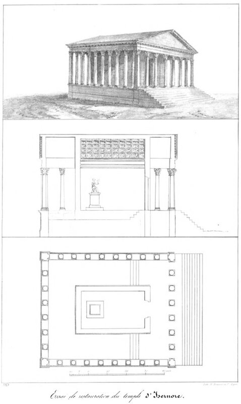 Reconstitution (dessin) du temple romain d'Izernore in Saint-Didier, 1837