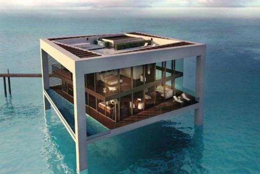 maison carrée plantée sur l'eau