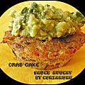 Crab cakes, crème d'avocat à la coriandre et au cumin
