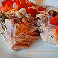 Saumon au four, champignons, poivrons et épices