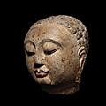 a superb carved polychrome limestone head of buddha, sui dynasty (581-618)