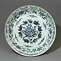 Blue-and-white dish with floral decoration, Vietnam, Lê dynasty, 14th-16th century
