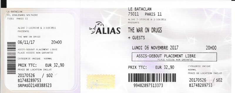 2017 11 06 The War on Drugs Bataclan Billet